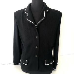 VTG St. John Marie Gray Blouse Jacket Black Sz 14